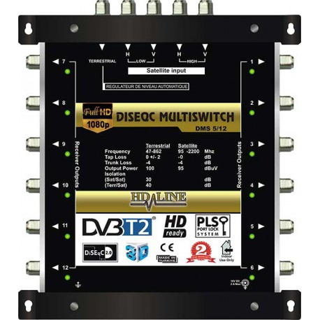 HD-LINE PRO MULTISWITCH 5/12 - 1SAT - 1TER / 12DEMOS