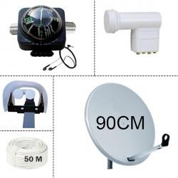 Parabole 90cm + LNB Quad + Proctection LNB + Satfinder + Cable 50M