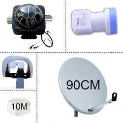 Parabole 90Cm + LNB Single +  Protection LNB + SatFinder + Cable 10M