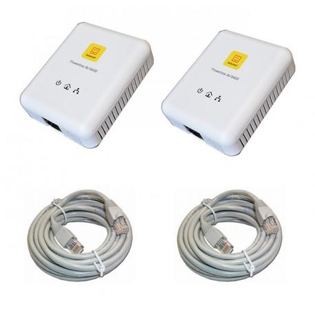Kit CPL (Courant Porteur en Ligne) 2 adaptateurs + cables Ethernet RJ45 Network 2x5M