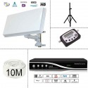 KIT SATELLITE FTA - DEMODULATEUR 220V ! + PARABOLE PLATE + TREPIED + DIGITAL SATFINDER + 10M CABLE