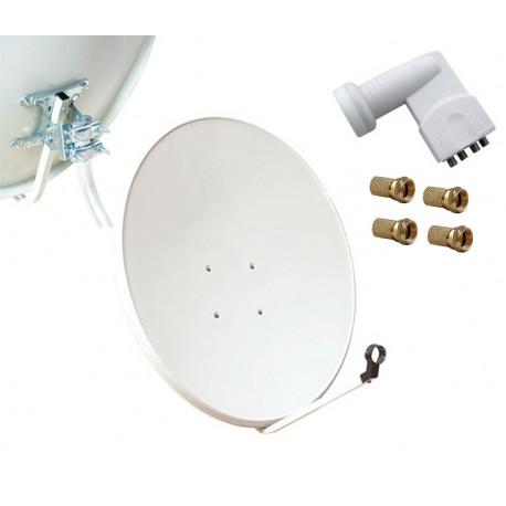 Kit HD-LINE Basic Parabole 80cm acier + LNB Quad + 4 connecteurs
