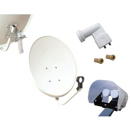 Kit HD-LINE Basic Parabole 70cm acier + LNB Twin + Protection anti-pluie + 2 connecteurs