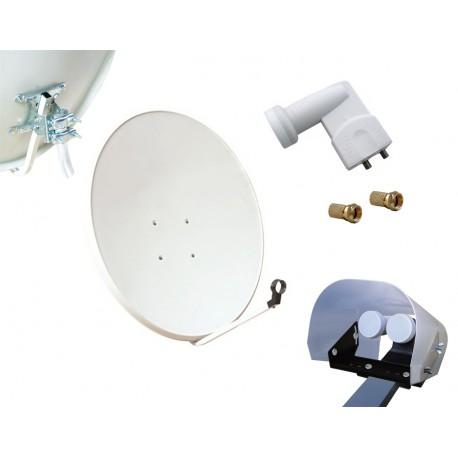 Kit HD-LINE Basic Parabole 80cm acier + LNB Twin + Protection anti-pluie + 2 connecteurs