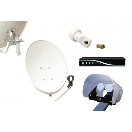 Kit HD-LINE Basic Parabole 60cm acier + Demo FTA HD + LNB Single + Protection anti-pluie + 1 connecteur
