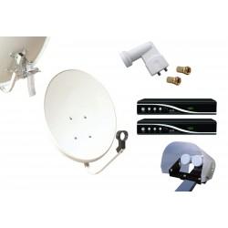Kit HD-LINE Basic Parabole 60cm acier + 2 Demo HD FTA + LNB Twin + Protection anti-pluie + 2 connecteurs