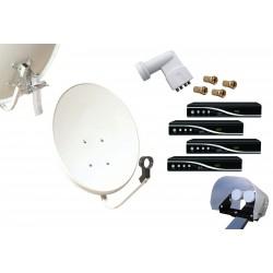 Kit HD-LINE Basic Parabole 60cm acier + 4 Demo HD FTA + LNB Quad + Protection anti-pluie + 4 connecteurs