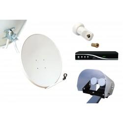Kit HD-LINE Basic Parabole 80cm acier + Demo FTA HD + LNB Single + Protection anti-pluie + 1 connecteur