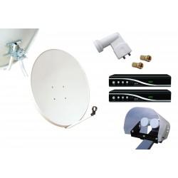 Kit HD-LINE Basic Parabole 80cm acier + 2 Demo FTA HD + LNB Twin + Protection anti-pluie + 2 connecteurs