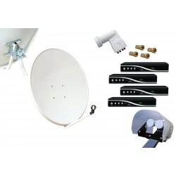 Kit HD-LINE Basic Parabole 80cm acier + 4 Demo HD FTA + LNB Quad + Protection anti-pluie + 4 connecteurs