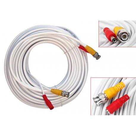 20M Cable blanc pour camera de surveillance CCTV - Avec connecteurs BNC et DC