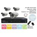 Kit videosurveillance  DVR  4HQ  + 4 Cameras WP-900W + 4x 20m cable BNC blanc + 1 adaptateur 4en1 + 1 alimentation 5A