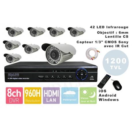 Kit videosurveillance DVR  8HQ  + 8 Cameras WP-900W + 8x 20m cable BNC blanc + 1 adaptateur 8en1 + 1 alimentation 5A
