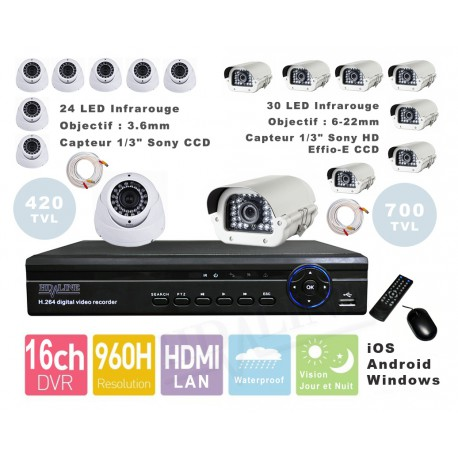 Kit videosurveillance DVR  16 + 8 Camera MD-450W + 8 Camera BX-1150W + 16x 20m cable BNC blanc + 2 adaptateur 8en1 + 2 alim 5A