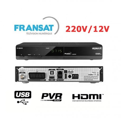 HUMAX FR 1000 Demodulateur satellite Fransat HDMI Peritel USB PVR 220/12V