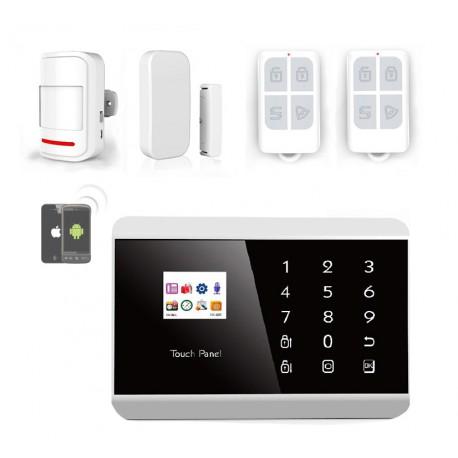 Kit alarme maison ANGLAIS - Systeme sans fil compatible ligne fixe ADSL SIM App Android Iphone