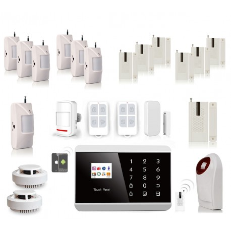 KIT ALARME ANGLAIS SANS FIL FT ADSL SIM APPLICATION + 7 detecteurs presence + 7 detecteurs porte + 2 detecteurs fumee + sirene