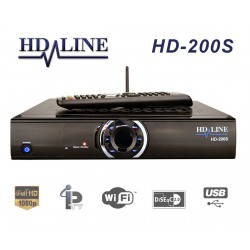 HD-LINE HD-200S Plus Démodulateur satellite FTA Full HD 1080p IPTV WiFi LAN USB Lecteur de carte CA - Mediaplayer