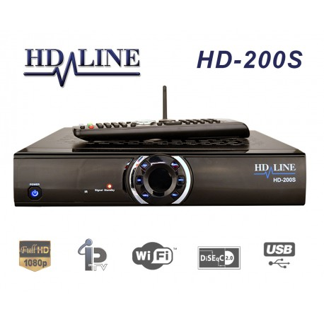 HD-LINE HD-200S Plus Sat and IPTV Receiver HD 1080p LAN WiFi USB PVR + 6 months arabic channels for free