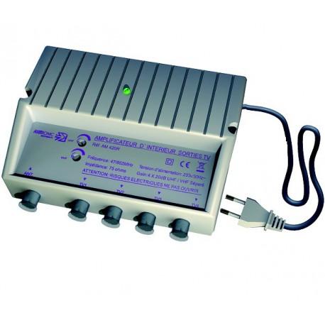AMPLIFICATEUR INTERIEUR 20dB REGLABLE UHF/VHF 4 SORTIES