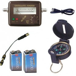 KIT SATFINDER POINTEUR SATELLITE + Boussole + Cable + piles