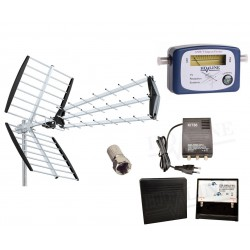 ANTENNE RATEAU TNT FULL HD TERRESTRE UHF + Pointeur dvb-t + kit Amplificateur