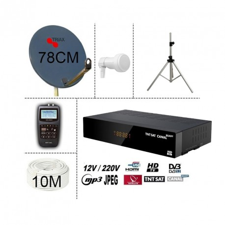 KIT TNTSAT 220/12V DEMO  + PARABOLE TRIAX 78CM + TREPIED + LNB SINGLE + SF-700 SATFINDER + 10M CABLE