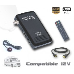 HD-LINE HD-100 Mini recepteur satellite HD 220V 12V Ideal camping