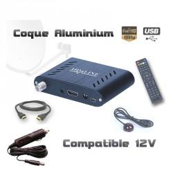 HD-LINE HD-120 + Allume-cigare Mini démodulateur satellite FTA coque alu 220V 12V Bip signal HDMI USB Déport IR