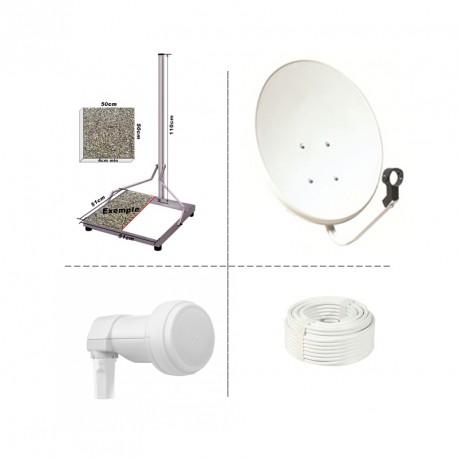 Kit Parabole 50 cm acier + LNB Single + 10m Cable + Chassis Acier 50x50 terrasse support fixation balcon ou terrasse