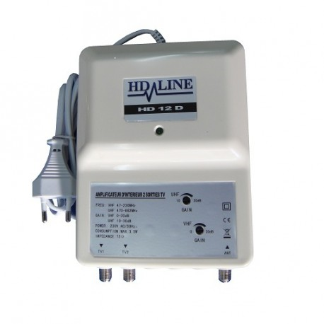 HD-LINE HD-12D amplificateur d'intérieur 2 sorties TV d'antenne tnt