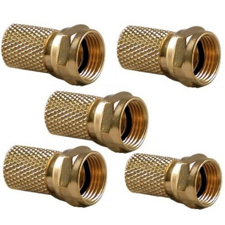 Lot 5 Fiches F OR avec joint  coaxial 6,8 MM CONNECTEUR F GOLD