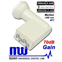LNB MTI QUAD 0.2 dB GAIN 70DB HIGH LINE AK54-XT2N