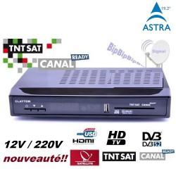 TNTSAT HD CLAYTON 220V/12V Decodeur TNT - HDMI - USB PVR Recepteur satellite numerique